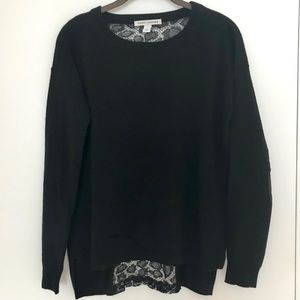 Autumn Cashmere Black Sweater with Lace Detail